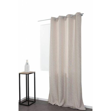 rideau 140 x 300 cm a oeillets grande hauteur mat trame verticale ton sur ton beige naturel naturel