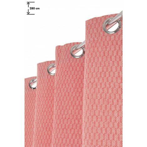 rideau 140 x 280 cm a oeillets grande hauteur jacquard style boheme motif geometrique bicolore losanges blanc rouge rouge rouge