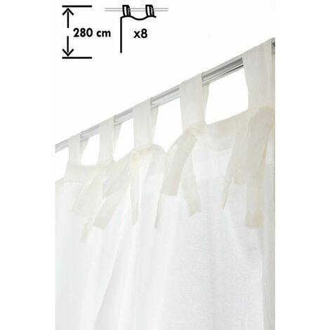 voilage 140 x 280 cm a pattes grande hauteur effet lin avec noeuds uni ecru ecru ecru
