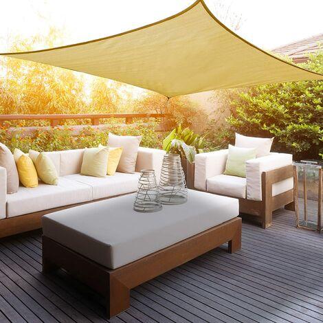 voile d ombrage carre 2x2m pour exterieur jardin terrasse protection uv polyethylene haute densite respirant couleur sable