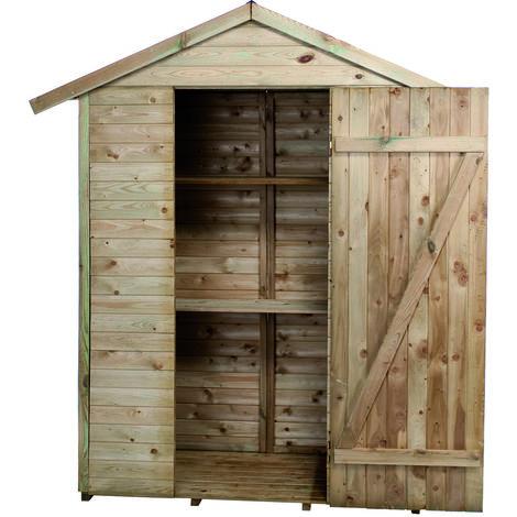 madeira rangement grande armoire de jardin pin sylvestre remise pour outils 2 etageres bois traite autoclave toit en pente l193x l 83xh 220