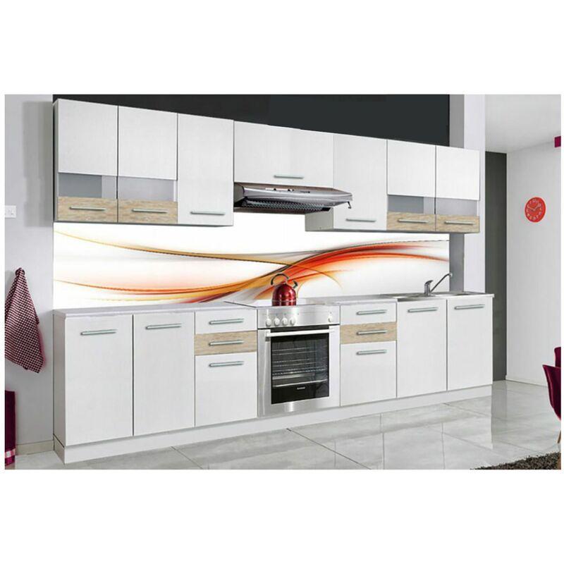 iona cuisine complete lineaire l 3 m 9 pcs plan de travail inclus ensemble meubles armoires cuisine ensemble de cuisine blanc sonoma