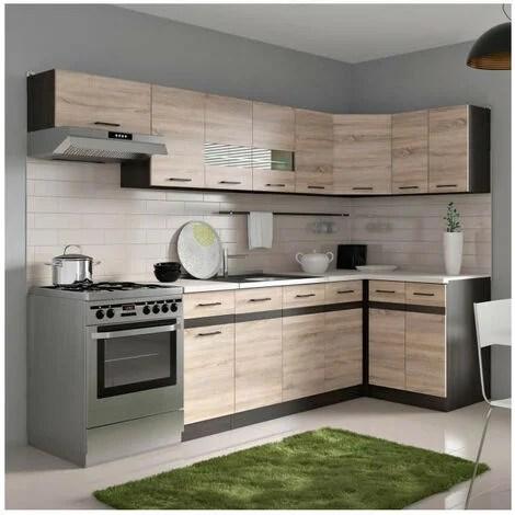 junona cuisine d angle complete avec eclairage led et plan de travail l 3m40 decor chene sonoma