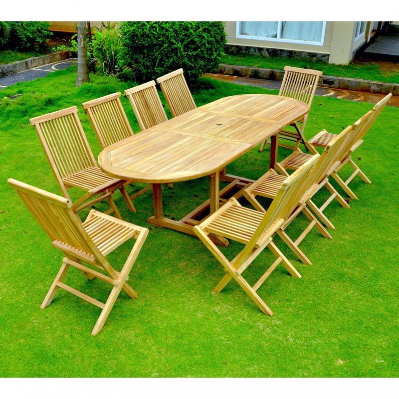 kajang salon de jardin teck massif 10 12 pers table ovale 10 chaises