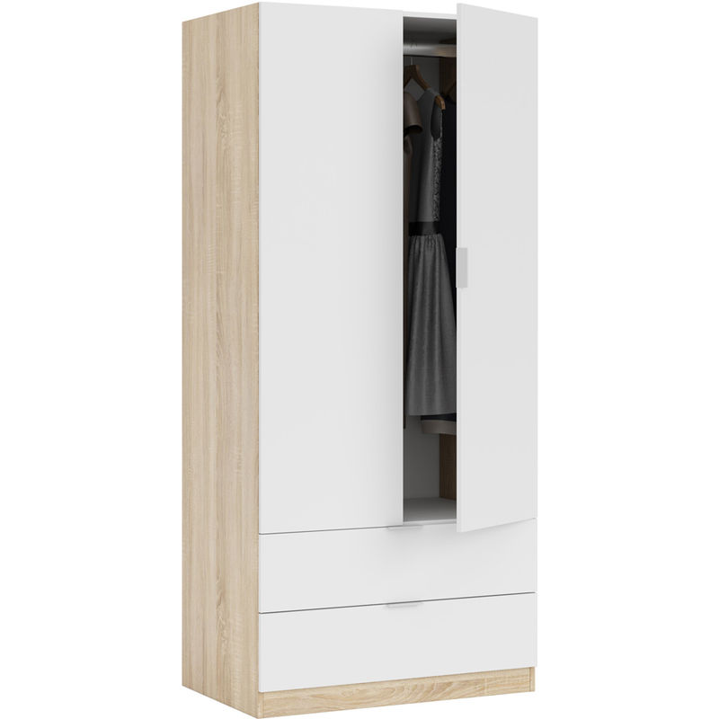 Kit Armadio Bianco 2 Ante Cassetti Guardaroba Mobile