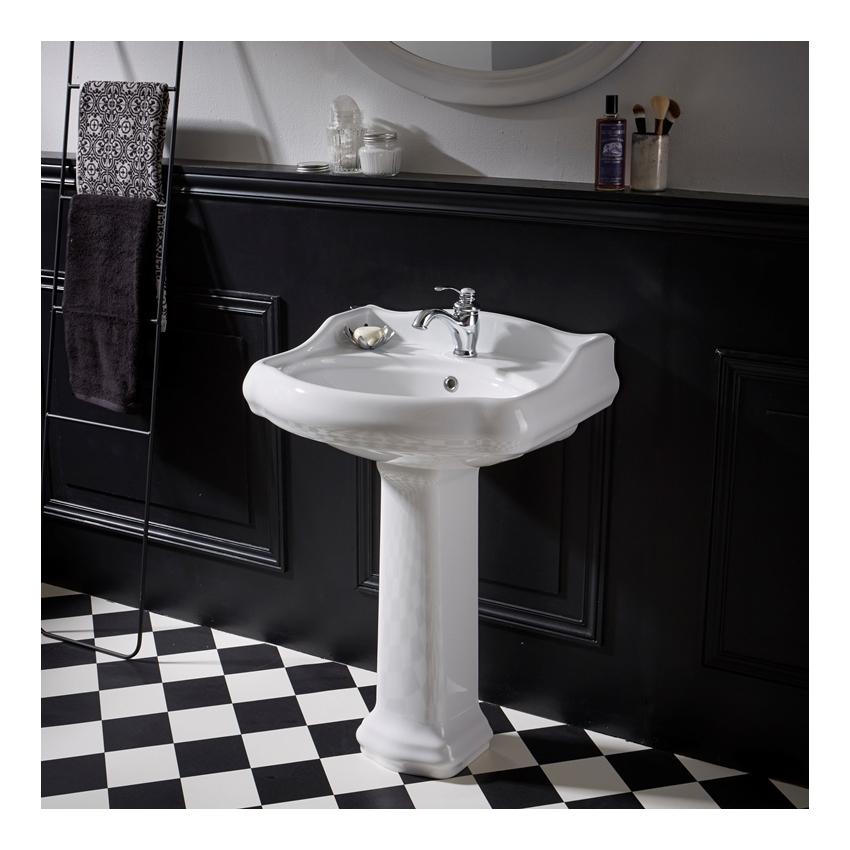 lavabo colonne retro 60 cm en ceramique blanc