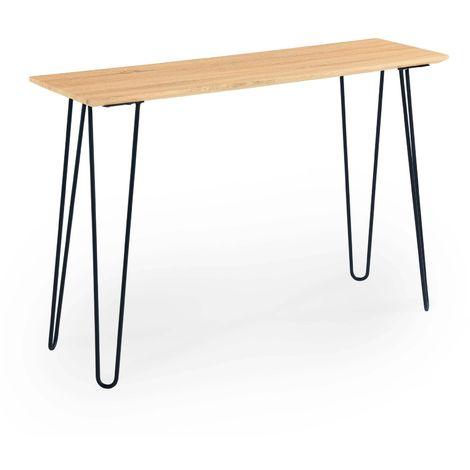 lina table console retro en noir et bois