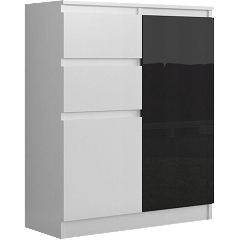 lisbon w1 commode contemporaine chambre salon bureau 98x80x40cm rangement 2 tiroirs 2 portes buffet style moderne blanc noir laque