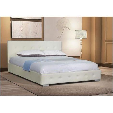 lit adulte design blanc capitonne igor 160x200 cm avec sommier meuble en simili cuir ideal pour votre chambre a coucher blanc