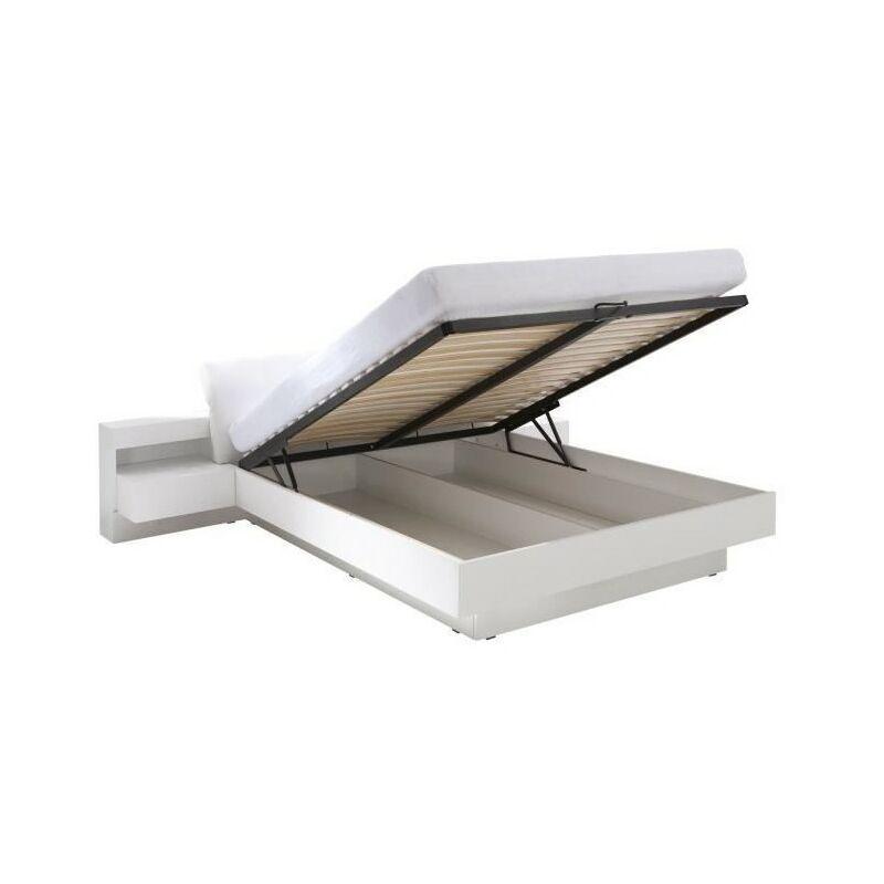 lit coffre renato sommier tables de chevet integrees avec led couchage 160x200 cm blanc