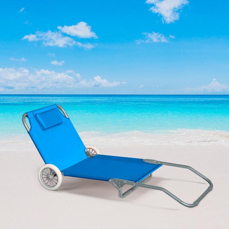 lit de plage pliant bain de soleil transat piscine portable roues banana