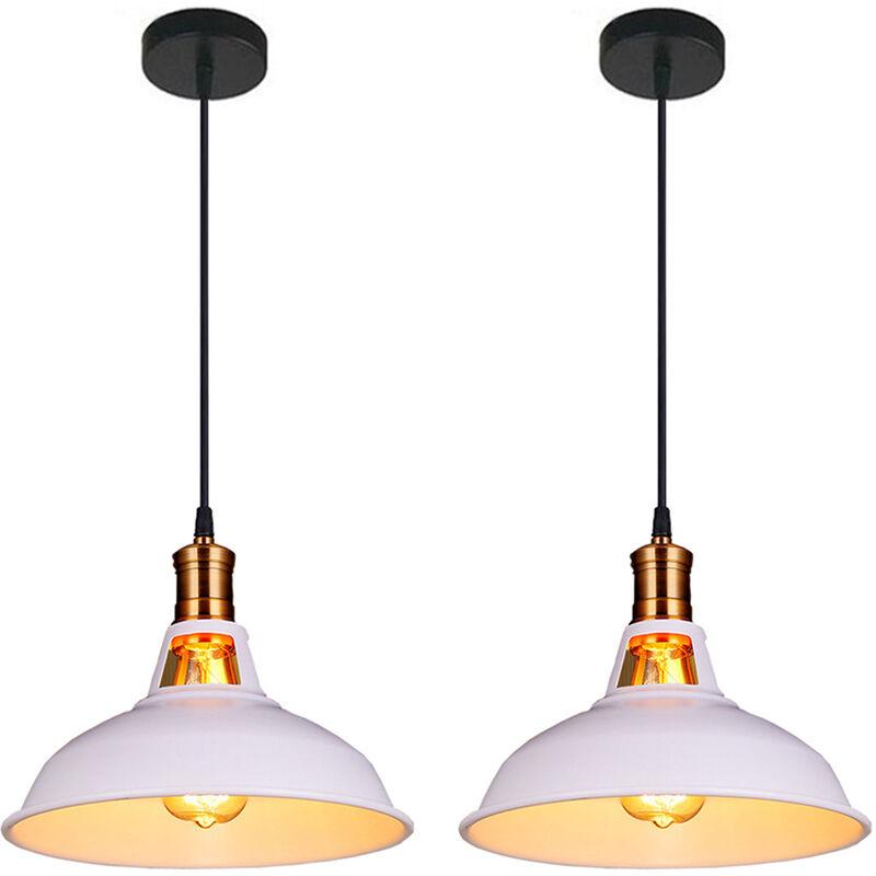 lot de 2 suspension vintage industrielle lampe de plafonniers led retro metal lustre avec abat jour luminaire e27 eclairage de plafond blanc