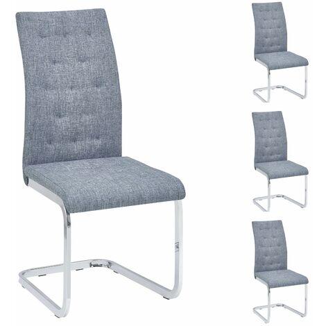 lot de 4 chaises de salle a manger chloe avec assise capitonnee et pietement chrome revetement en tissu gris