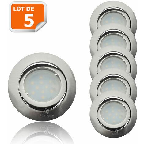 Lot De 5 Spot Led Encastrable Complete Satin Orientable Lumiere Blanc Chaud Eq 50w Ref 209 209 05