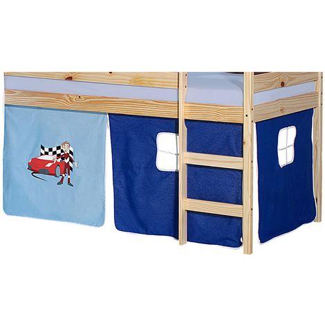 lot de rideaux cabane pour lit sureleve superpose mi hauteur mezzanine tissu coton motif auto bleu
