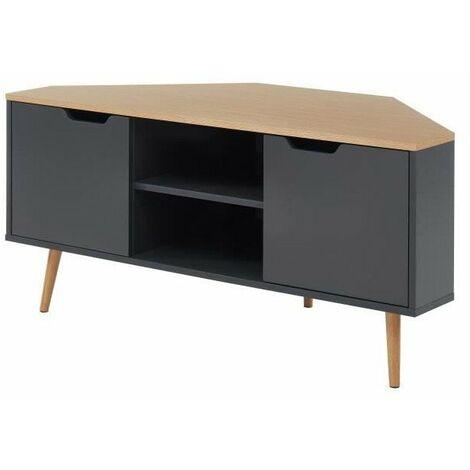lyna meuble tv d angle style industriel decor chene et gris anthracite l 115 x p 55x h 53 5cm