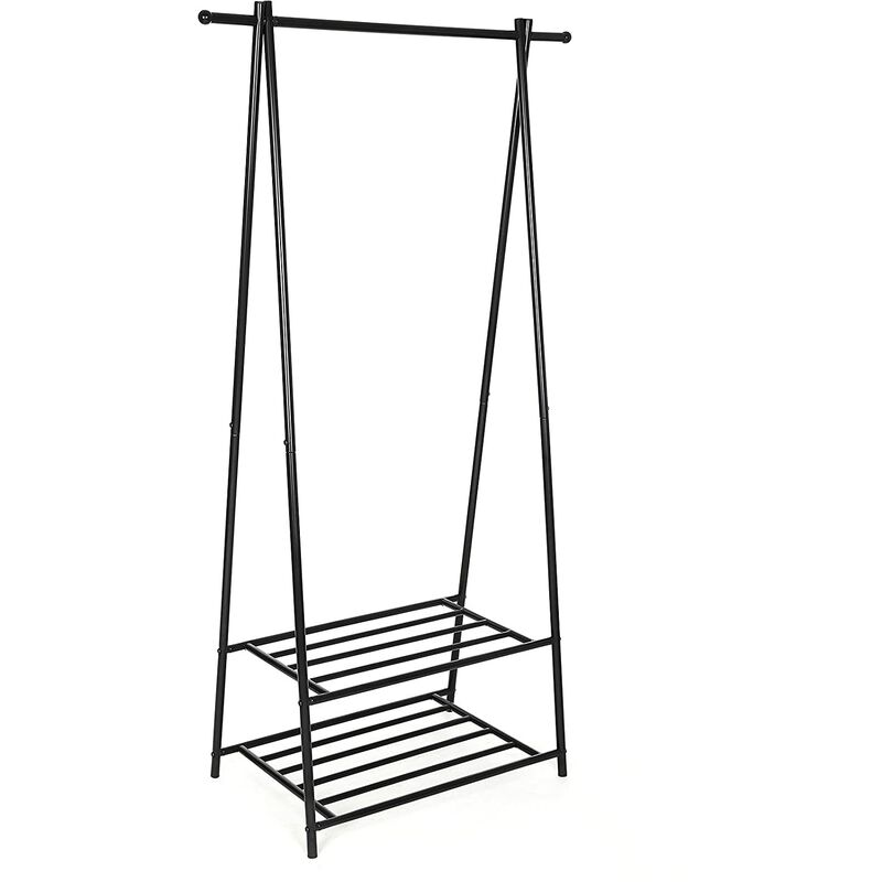 Metal Coat Rack Clothes Stand with 2-tier Clothes Shoe Hat