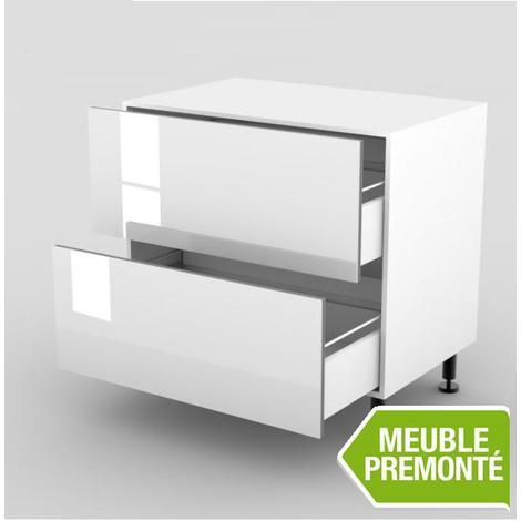 meuble bas 100cm 2 casseroliers 70x100 cristal blanc