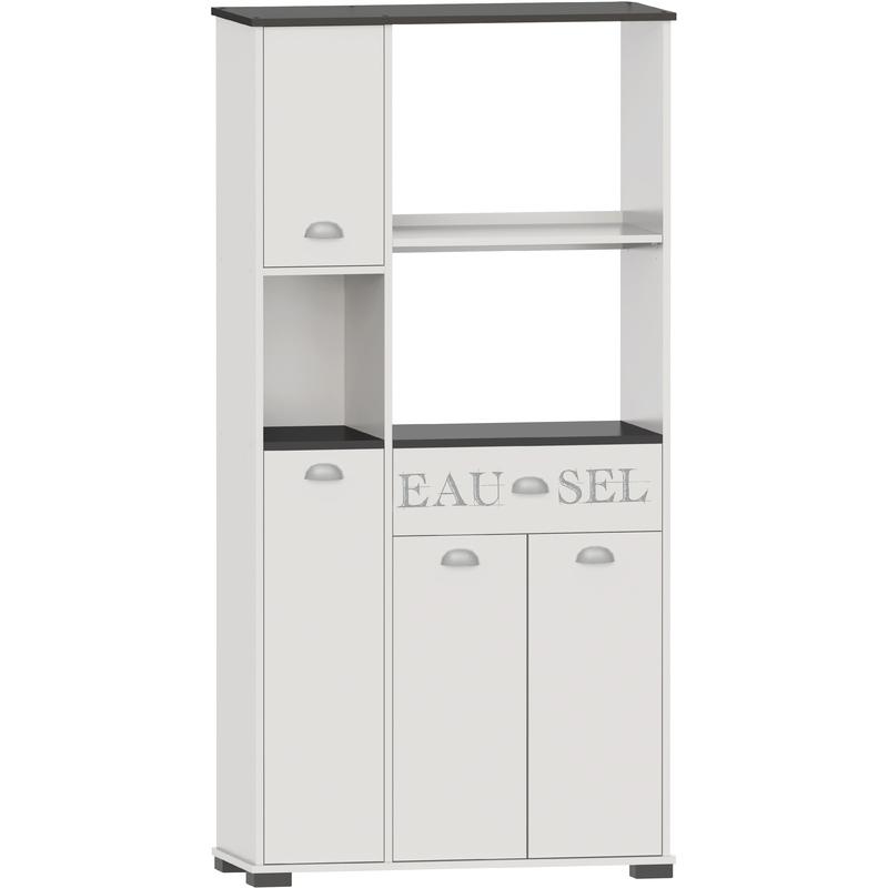 meuble cuisine buffet avec 3 portes et 1 tiroir blanc gris 90 x 40 x 180 cm