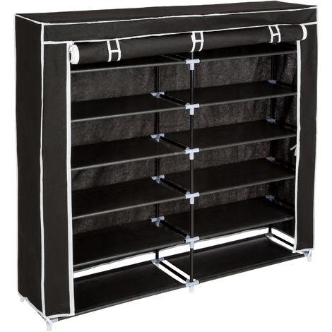 meuble a chaussures 6 etageres en tissu pour 24 paires de chaussures 115 cm x 110 cm x 28 cm noir
