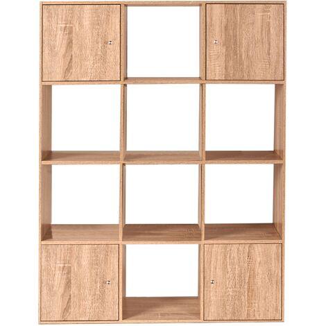 meuble de rangement cube rudy 12 cases bois facon hetre avec portes