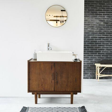 meuble de salle de bain en bois de mindy vintage 90 cm marron