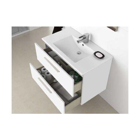 Meuble De Salle De Bain Suspendu 80 Cm Laquee Blanc Brillant Et Miroir Blanc Brillant Standard 305161bo