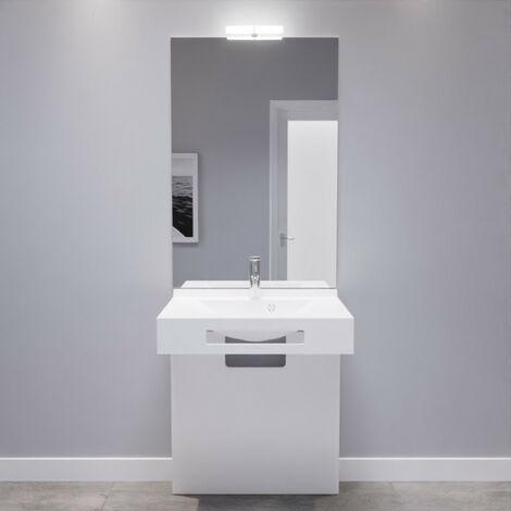 meuble lea 70 cm avec plan vasque miroir et caisson sur pieds blanc brillant