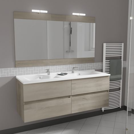 Meuble Rosaly 140 Cm Avec Plan Vasque Et Miroir Cambrian Oak I Rym00 Rel140co