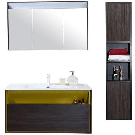Meuble Salle De Bain Avec Colonne De Rangement Simple Vasque Noir Et Jaune 100 Cm Msd04jq03 S1000nej