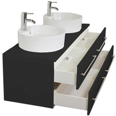 Meuble Salle De Bain Double Vasque Novum Xl Noir Satine Avec Vasque A Poser 4250524151689