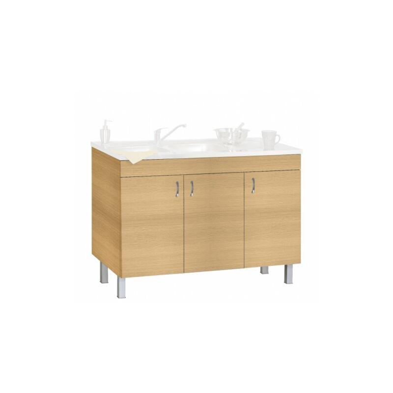 meuble sous evier 120 cm chene blanchi deco clip neova