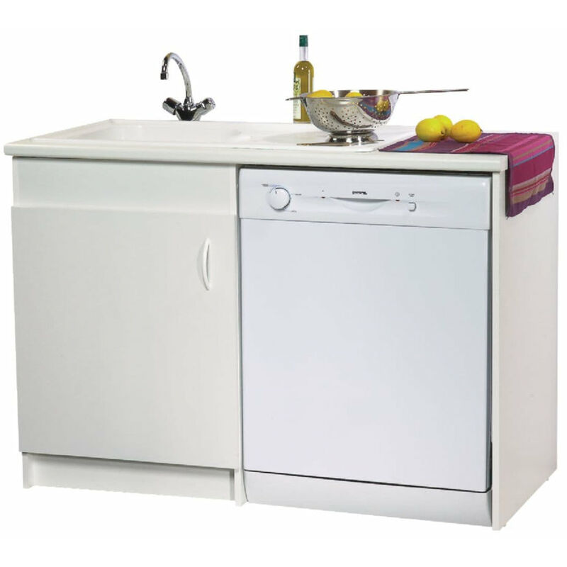 meuble sous evier gamme lav vaisselle neova l 120 x h 82x p 60 cm melamine blanc ref s15v01