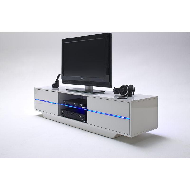 meuble tv avec led bleu coloris laque blanc brillant l160 x h36 x p40 cm pegane