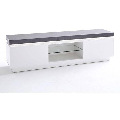 meuble tv blanc laque a prix mini