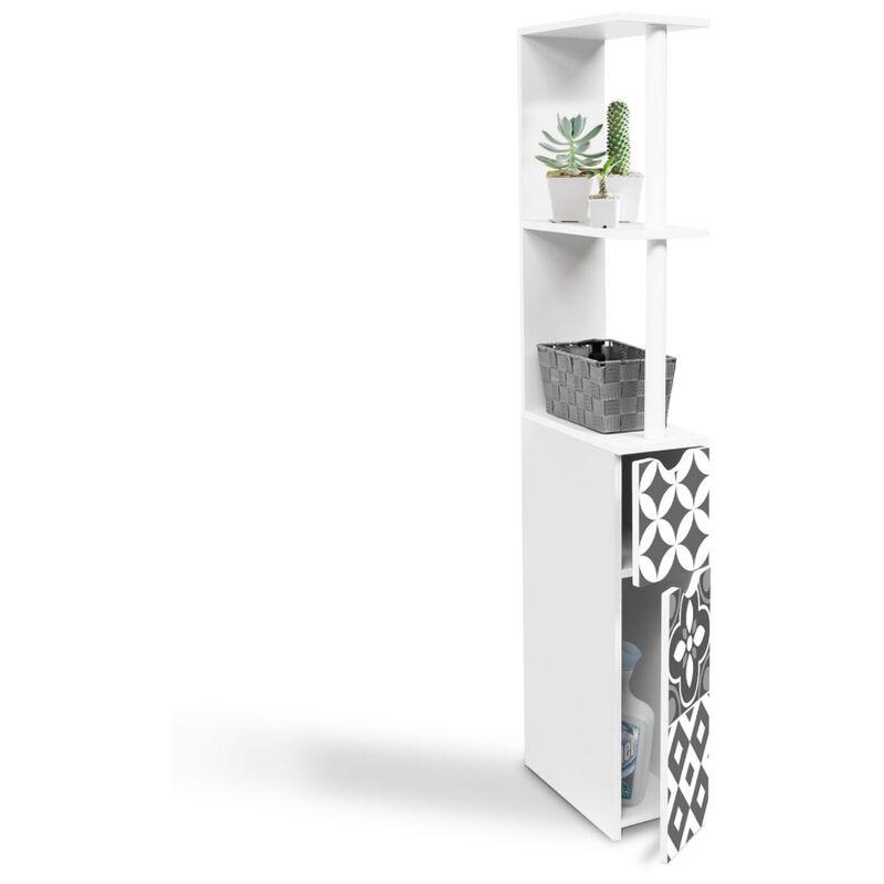 meuble wc etagere willy 2 portes motif carreaux de ciment gris