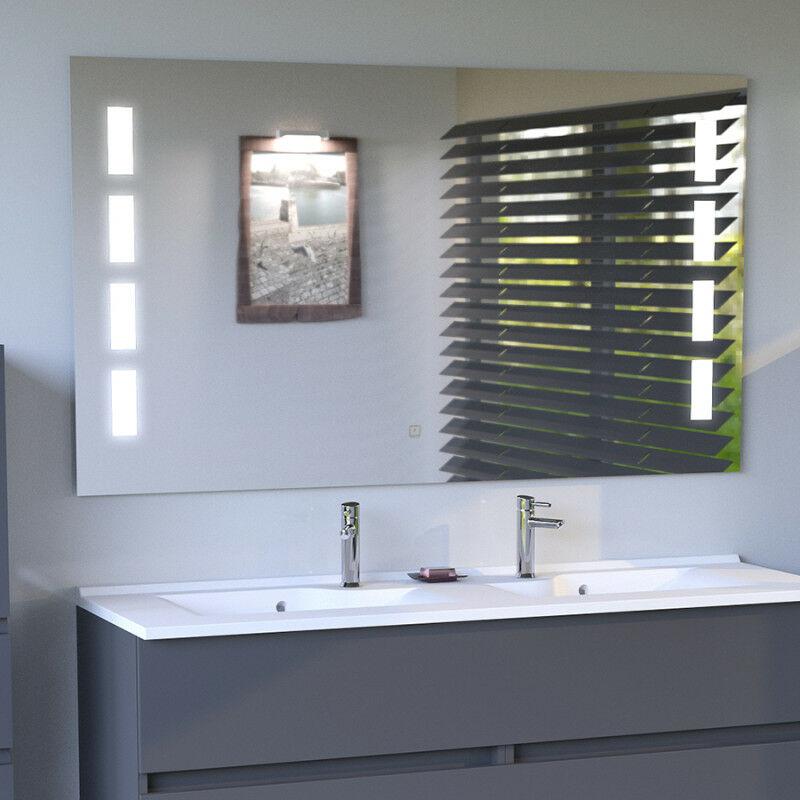 miroir anti buee prestige 140x80 cm eclairage integre a led et interrupteur sensitif