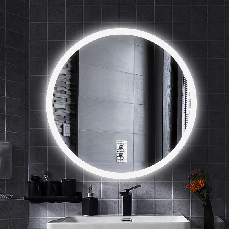 Miroir De Salle De Bain Rond Ceinture Givree Blanc Froid Anti Buee 60 60 4 5cm 35mm Ys17410701hap