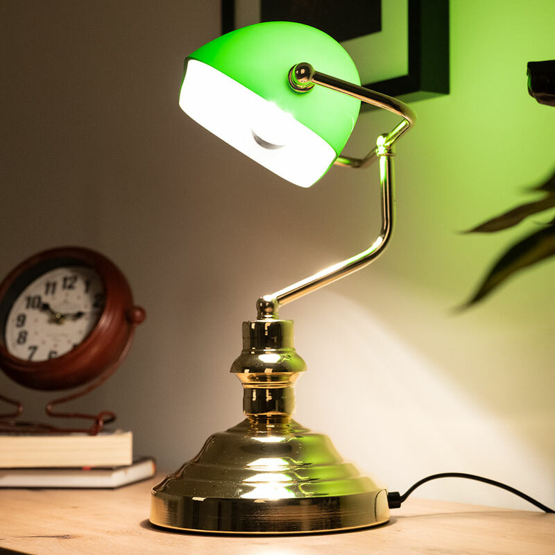 nostalgie retro lampe ancienne lampe de bureau lampe de table antique vert 2491