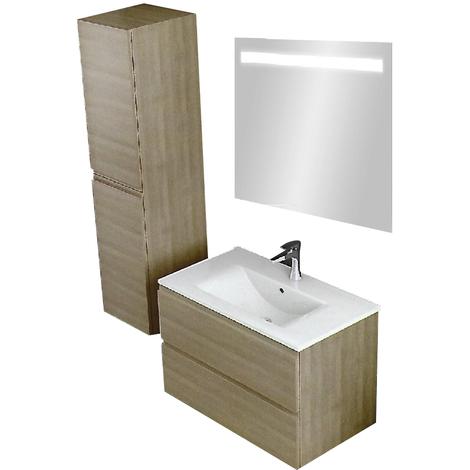 pack meuble de salle bain suspendu 100 cm couleur chene clair meuble bas miroir vasque