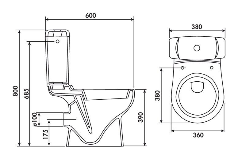 pack wc gain de place sortie horizontale 3 6l blanc