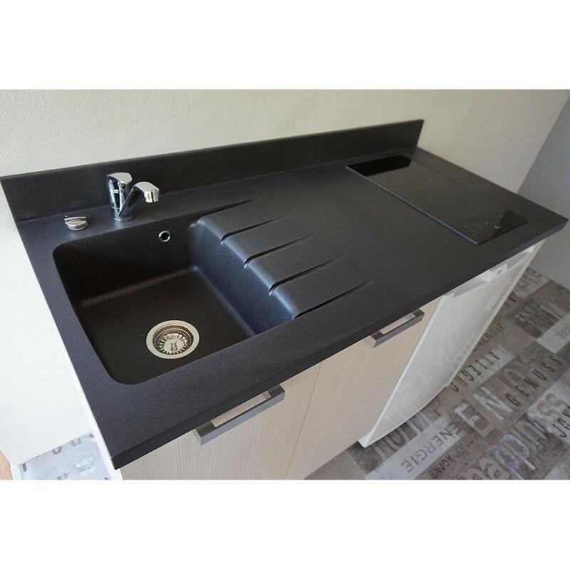 plan de travail monobloc planiquartz avec evier a gauche 180cm nero