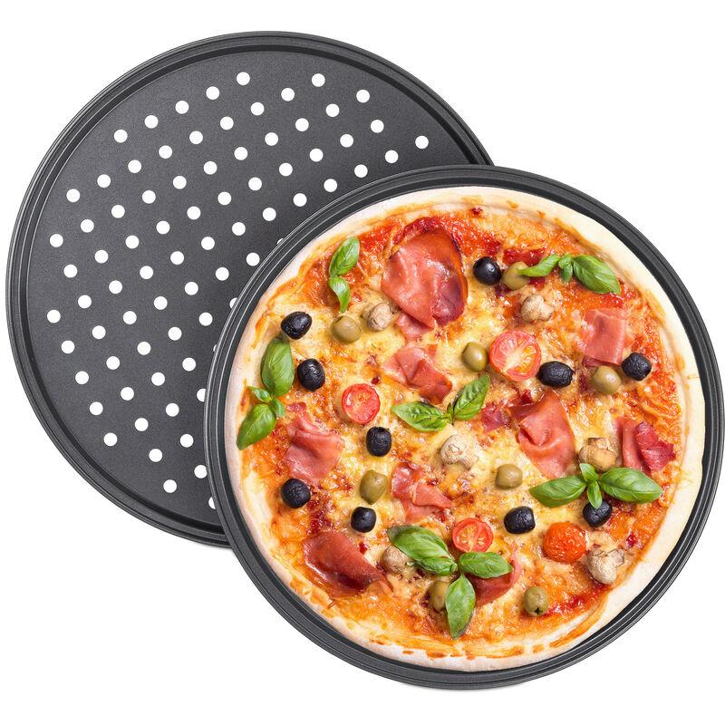 plaque a pizzas lot de 2 plat four perfore trous acier au carbone moule antiadhesif rond 32 cm gris