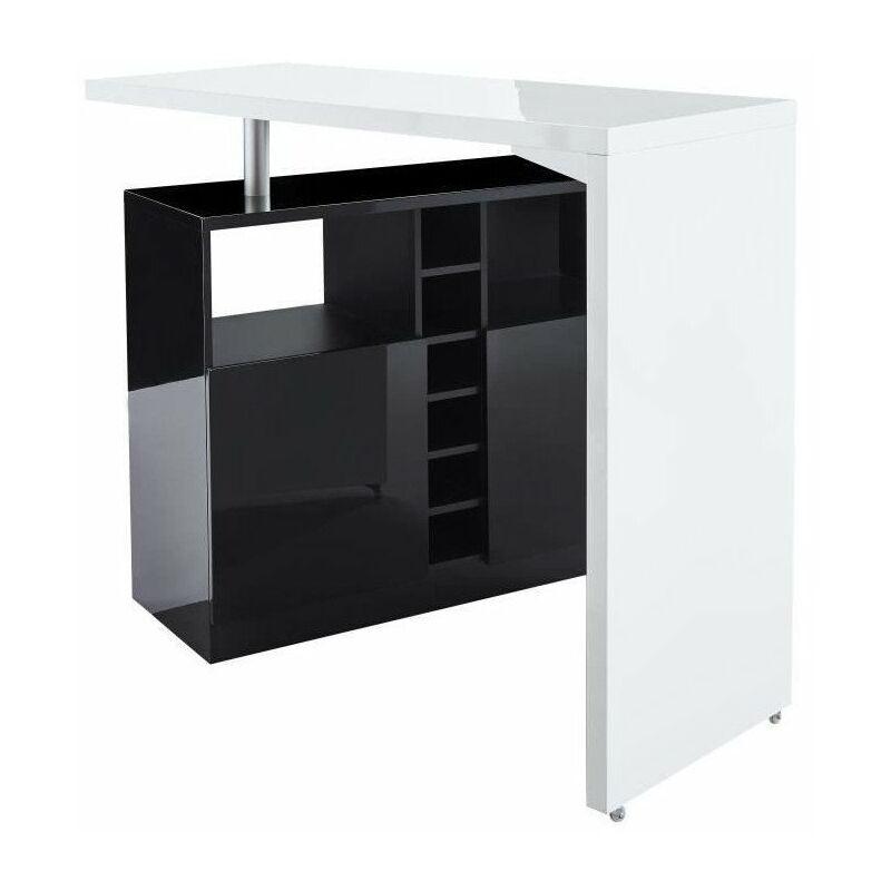 poly table bar style contemporain blanc laque brillant et noir l 126 x l 52 cm