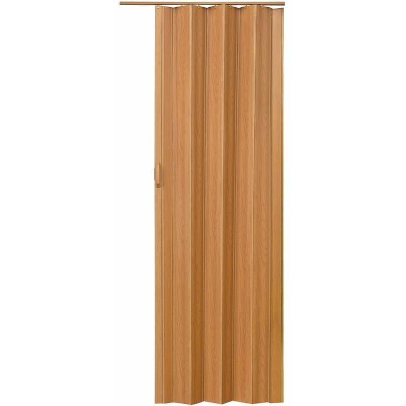porte accordeon pliante pvc salle de bain extensible coulissante largeur 80 cm brun clair