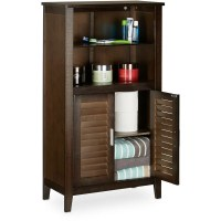 Relaxdays LAMELL Dark Brown Bathroom Cabinet, Bamboo Floor ...