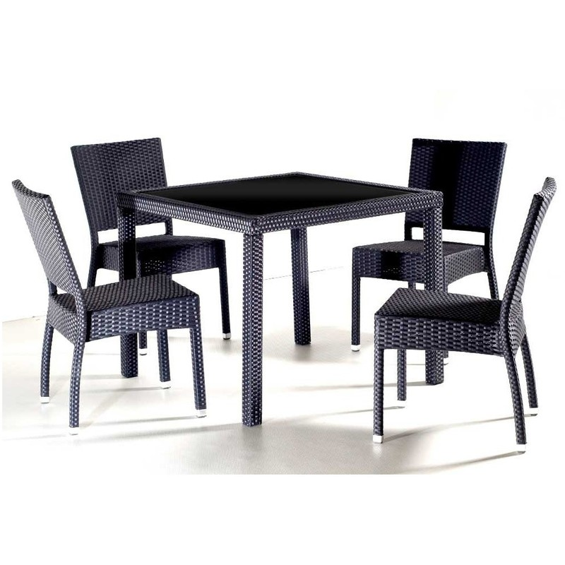 salon de jardin en resine table carre 4 personnes