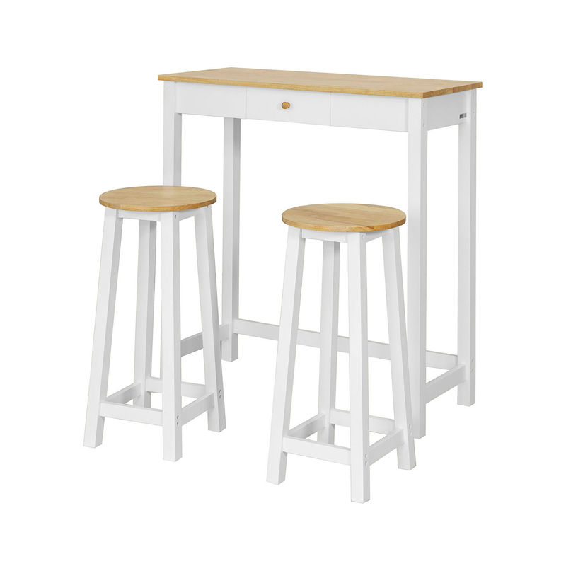 set de 1 table 2 tabourets table mange debout table haute cuisine ensemble table de bar bistrot blanc naturel fwt50 wn sobuy