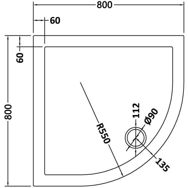 sirhona receveur de douche en quart de cercle 80 x 80 cm