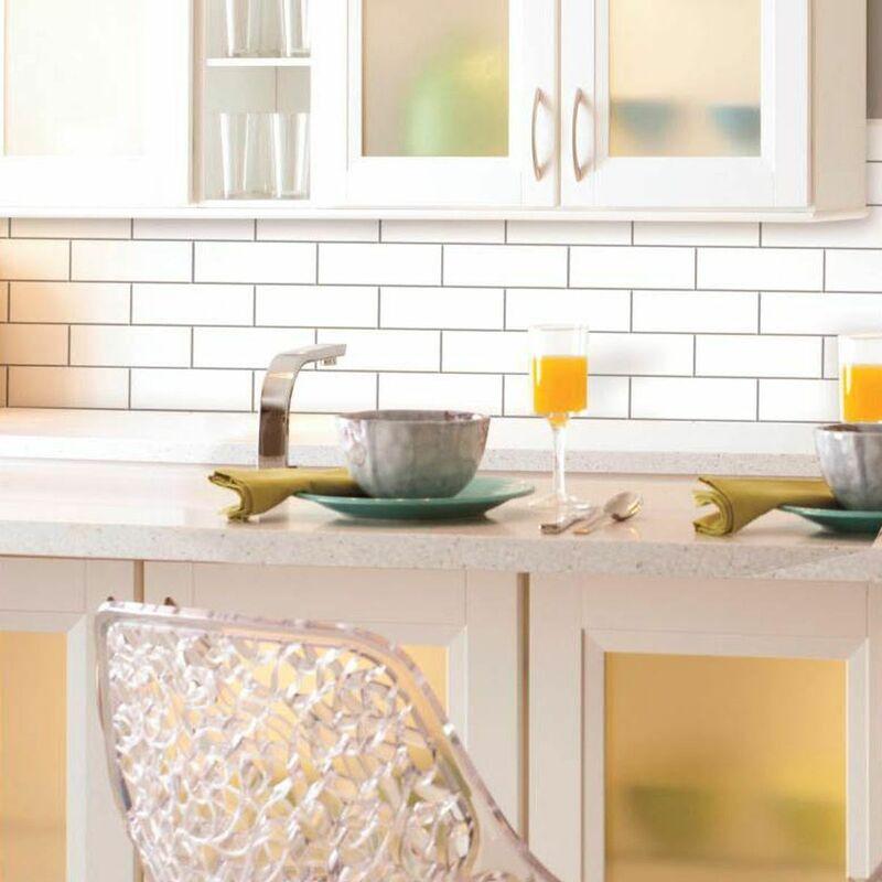 stick tile sticker carrelage mural faience adhesive motif metro blanc 4 plaques 26x26cm blanc
